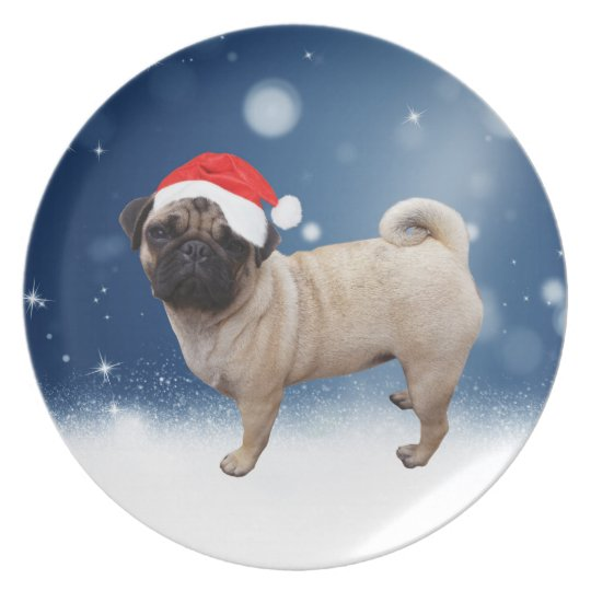 Cute Pug Dog Christmas Santa Hat Snow Stars Plate