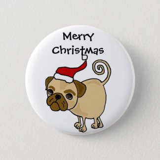 Cute Pug Dog in Santa Hat Christmas Art 6 Cm Round Badge