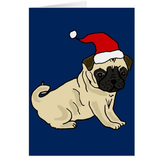 Cute Pug Dog in Santa Hat Christmas Cartoon