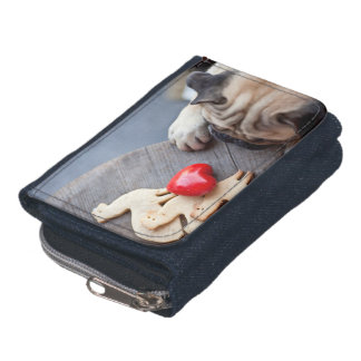 Cute Pug Dog with Red Heart and Sugar Cookies Wallets