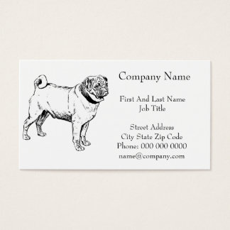Cute Pug Elegant Dog Drawing Business Card