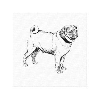 Cute Pug Elegant Dog Drawing Canvas Prints