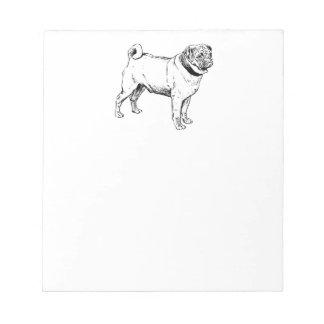 Cute Pug Elegant Dog Drawing Notepad