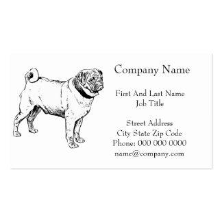 Cute Pug Elegant Dog Drawing Pack Of Standard Business Cards