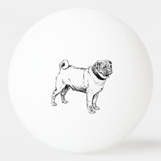 Cute Pug Elegant Dog Drawing Ping Pong Ball