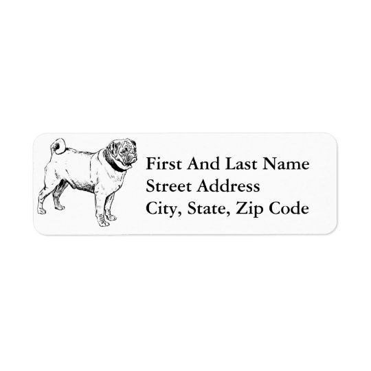 Cute Pug Elegant Dog Drawing Return Address Label