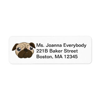 Cute Pug Face Return Address Label