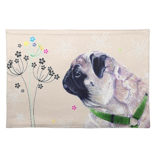 Cute Pug & Flowers Placemats