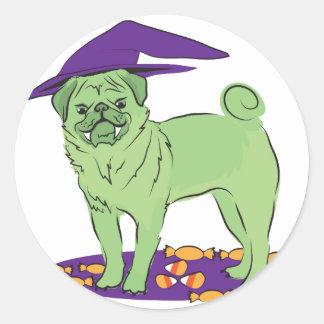 Cute Pug Halloween puppy dog Round Sticker