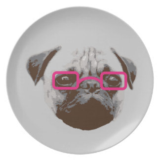 Cute Pug Hipster with Pink Glasses Dinner Plates