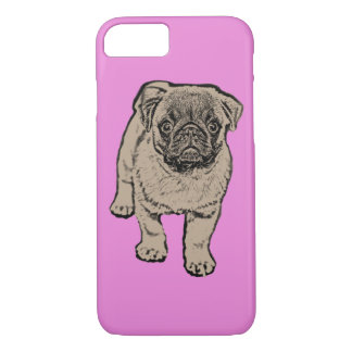 Cute Pug iPhone 7 Case - Pink