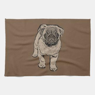 Cute Pug Kitchen Towel -Brown