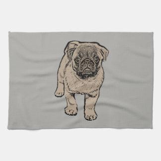 Cute Pug Kitchen Towel -Grey