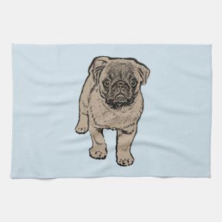 Cute Pug Kitchen Towel -Light Blue
