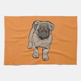 Cute Pug Kitchen Towel -Orange