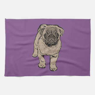 Cute Pug Kitchen Towel -Purple