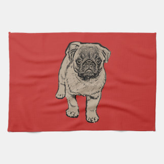 Cute Pug Kitchen Towel -Red