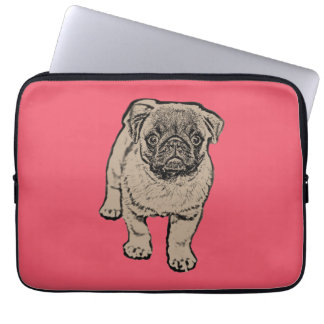 Cute Pug Laptop Sleeve 13 inch - Red