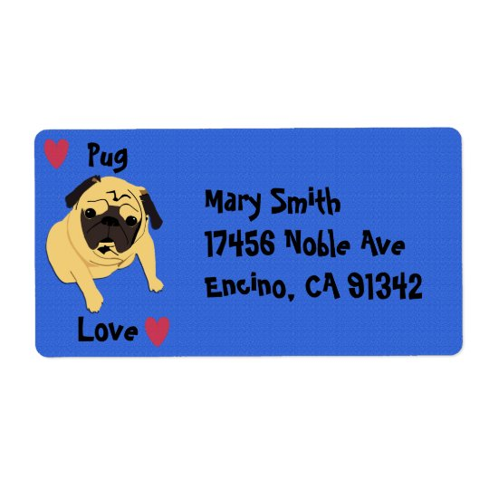 Cute Pug Love Dog Shipping Label