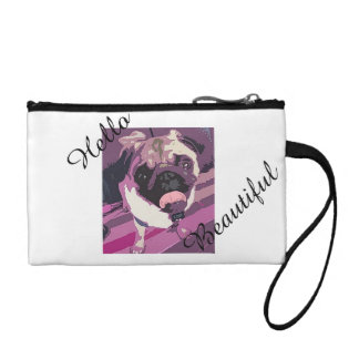 Cute Pug Makeup Bag/Clutch - Hello Beautiful Change Purses