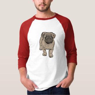 Cute Pug Men's 3/4 Sleeve T-Shirt - White/Red