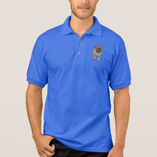 Cute Pug Men's Polo Shirt - Blue