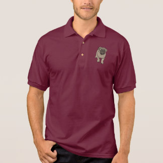 Cute Pug Men's Polo Shirt - Maroon