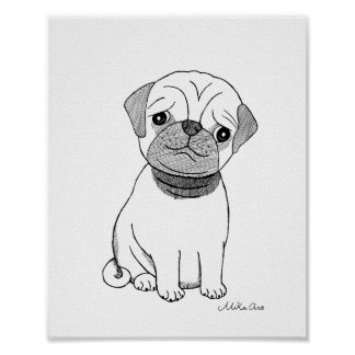 Cute Pug Poster Pet Dog Pug Black & White Wall Art