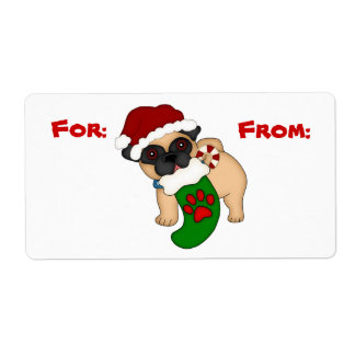 Cute Pug Puppy Christmas Gift Tag Shipping Label
