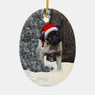 Cute Pug Puppy Christmas Ornament #2