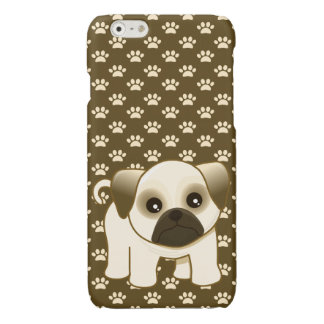 Cute Pug Puppy Dog on Pawprints Pattern iPhone 6 Plus Case