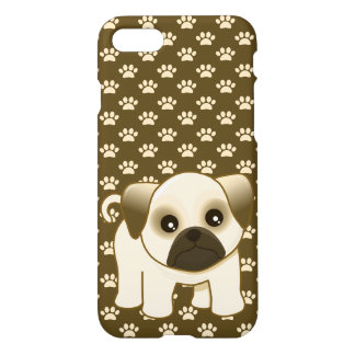 Cute Pug Puppy Dog on Pawprints Pattern iPhone 8/7 Case