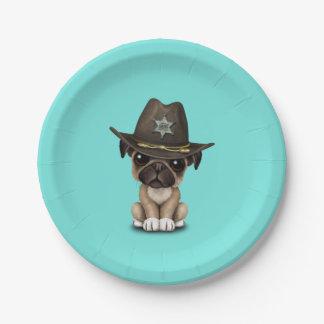 Cute Pug Puppy Dog Sheriff 7 Inch Paper Plate