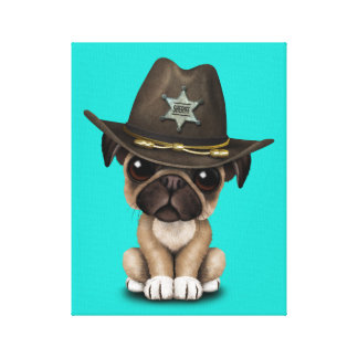 Cute Pug Puppy Dog Sheriff Canvas Print