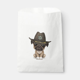 Cute Pug Puppy Dog Sheriff Favour Bags