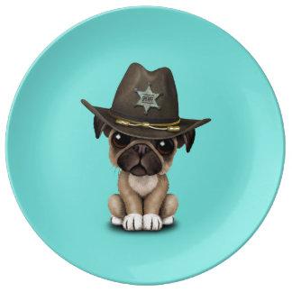 Cute Pug Puppy Dog Sheriff Porcelain Plate