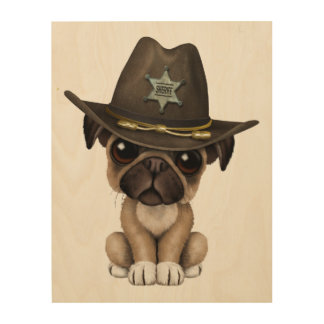 Cute Pug Puppy Dog Sheriff Wood Print