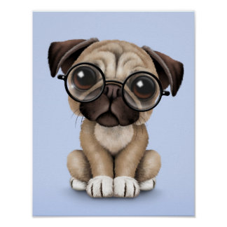 Cute Pug Puppy Dog Wearing Reading Glasses, Blue Poster