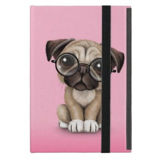 Cute Pug Puppy Dog Wearing Reading Glasses, Pink iPad Mini Cases