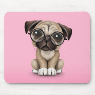 Cute Pug Puppy Dog Wearing Reading Glasses, Pink Mouse Pad