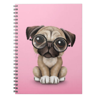 Cute Pug Puppy Dog Wearing Reading Glasses, Pink Spiral Notebook
