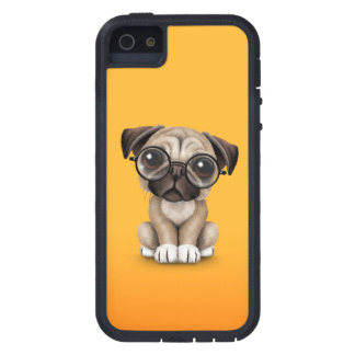 Cute Pug Puppy Dog Wearing Reading Glasses, Yellow iPhone 5 Cover