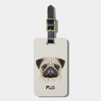 Cute Pug  Puppy Face Luggage Tag