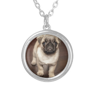 Cute Pug Puppy Photo Silver Plated Necklace