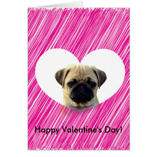 Cute Pug Puppy Pink Heart Happy Valentine's Day Greeting Card