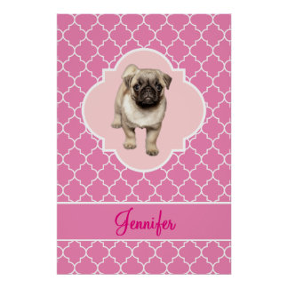 Cute Pug Puppy Pink Quatrefoil with Name Poster