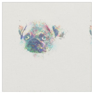 Cute pug puppy watercolor splatters abstract paint fabric