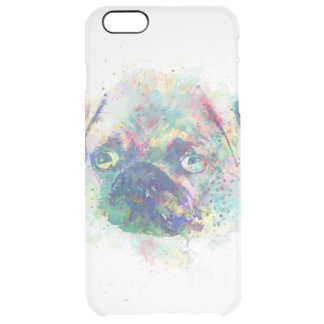 Cute pug puppy watercolor splatters  paint clear iPhone 6 plus case