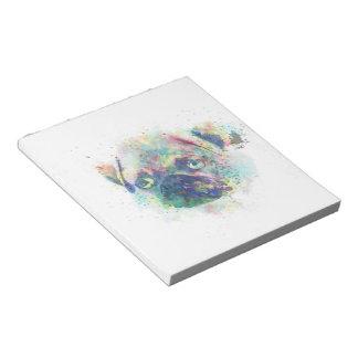 Cute pug puppy watercolor splatters paint notepad
