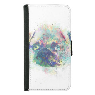 Cute pug puppy watercolor splatters  paint samsung galaxy s5 wallet case